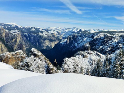 Hiking Yosemite during winter